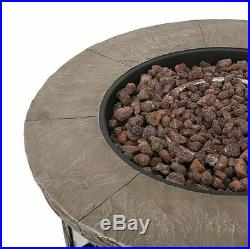 Patio Fire Pit Table Outdoor Gas Fireplace Stone Propane Heater Cover Furniture