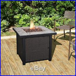 Peaktop 30 Inch Outdoor Square Concrete Propane Gas Fire Pit Fireplace Garden