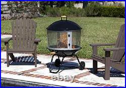 Portable Fireplace with Wheels Bon Fire 28-Inch Firepit Cover Outdoor Camping, New