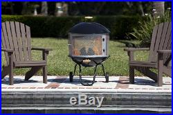 Portable Wheeled Patio Fireplace Warmer Round Wood Fire Pit Outdoor Heater