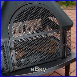 Premium Backyard Fireplace with Cover Portable Garden Chiminea Steel Cooking Grate