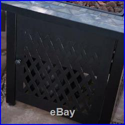 Propane Fire Pit Table Heater Fireplace Slate Mosaic with FREE Cover