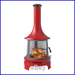 Steel Outdoor Chiminea Fireplace, Cast Iron Cooking Grill