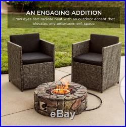 Stone Gas Patio Fire Pit 27.6 Propane Fireplace Heater W Cover Outdoor