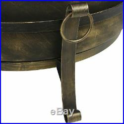 Sunnydaze 34 Inch Large Steel Cauldron Fire Pit with Spark Screen