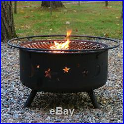 Sunnydaze Cosmic Fire Pit with Cooking Grill and Spark Screen 30-Inch