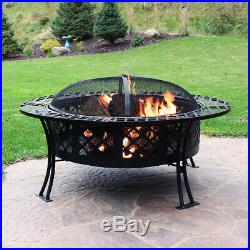 Sunnydaze Diamond Weave Large Patio Fire Pit with Spark Screen 40-Inch