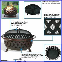 Sunnydaze Round Large Bronze Crossweave Fire Pit with Spark Screen 36-Inch