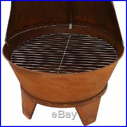 Sunnydaze Rustic Chiminea Outdoor Wood-Burning Fireplace Fire Pit 6-Foot