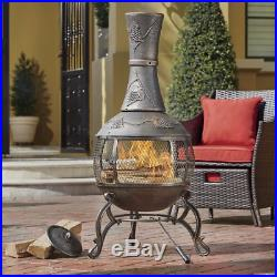 Versitle Wood Burning Chiminea Grape Design Outdoor Fireplace With Log Grate
