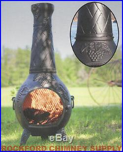 Wood Burning Chiminea Grape Design Outdoor Fireplace by Blue Rooster