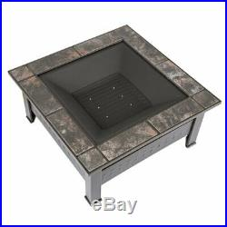 Wood Burning Fire Pit Table Patio Backyard Heater Outdoor Spark Screen Fireplace