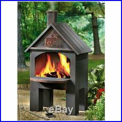 Wood Burning Steel Chiminea Fireplace Outdoor Fire Pit Oven Cooking Grill Heater